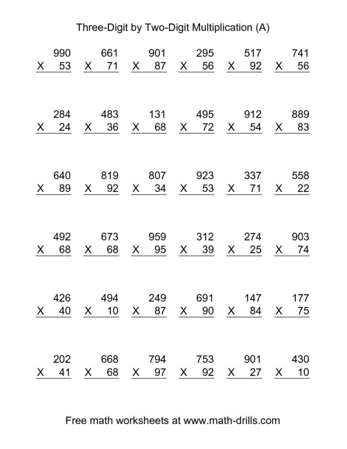 Multiplying Double Digits Worksheet Math Worksheets Double Digit Multiplication Two by the
