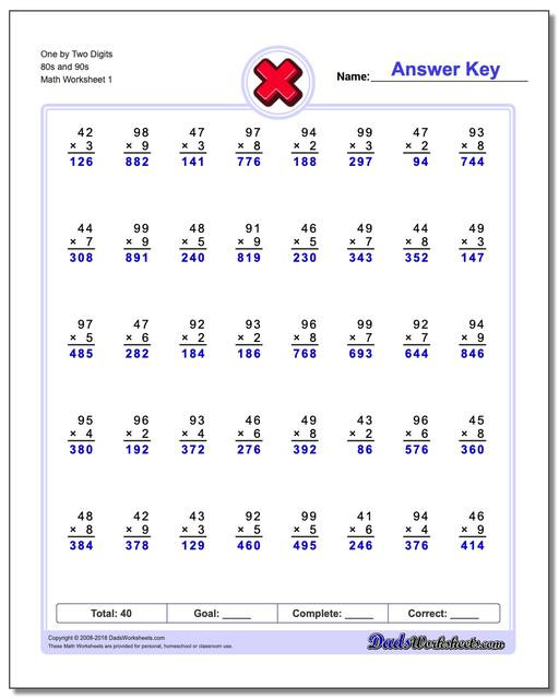 Multiplying Double Digits Worksheet Multiple Digit