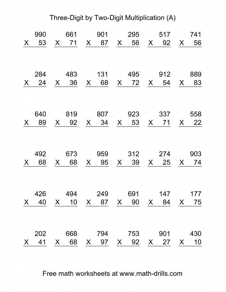Multiplying Double Digits Worksheet the Multiplying Three Digit by Two Digit 36 Per Page A