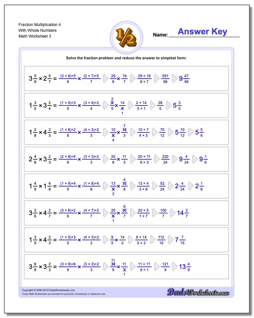 Multiplying Fractions by Fractions Worksheets Fraction Multiplication with wholes