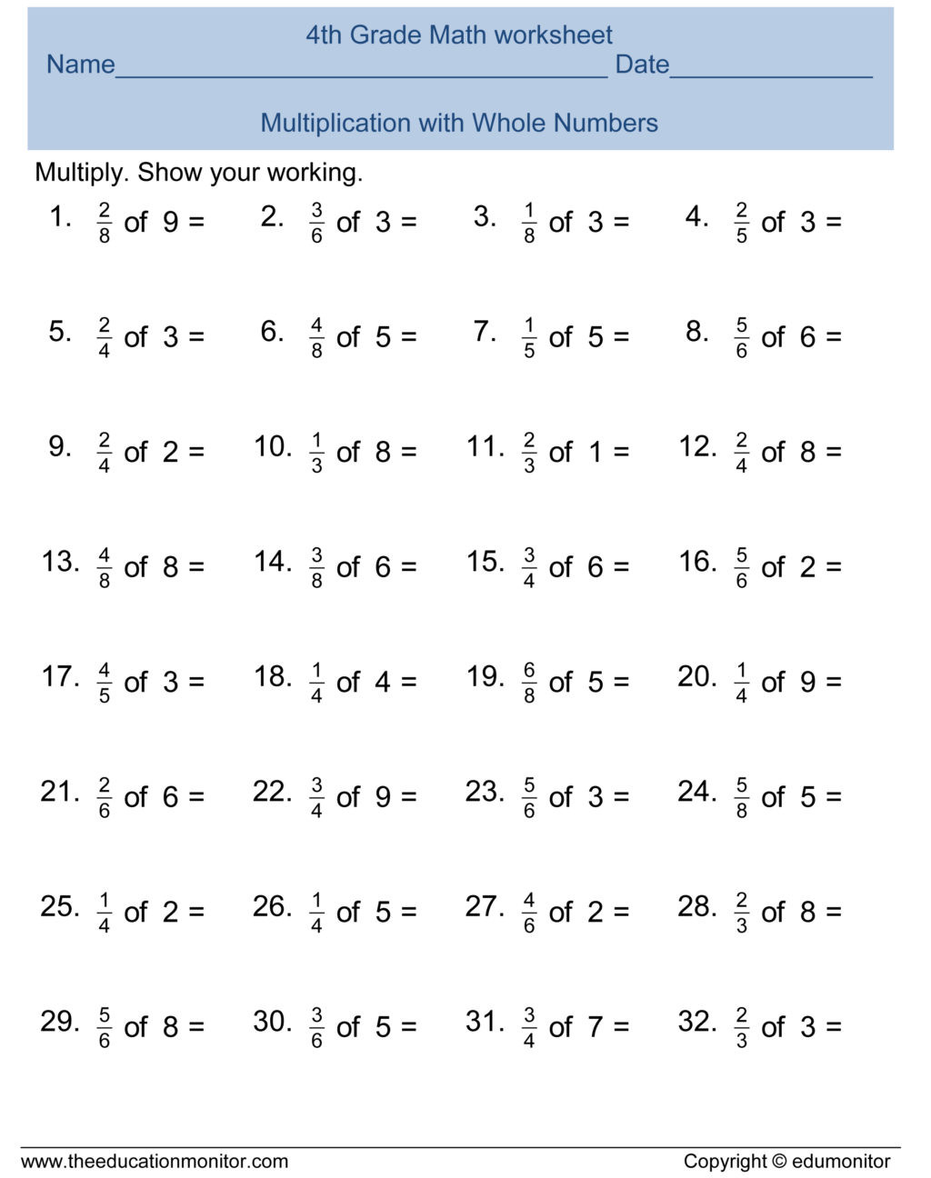 Multiplying Fractions by Fractions Worksheets Math Worksheet Math Worksheet 4th Grade Fractions