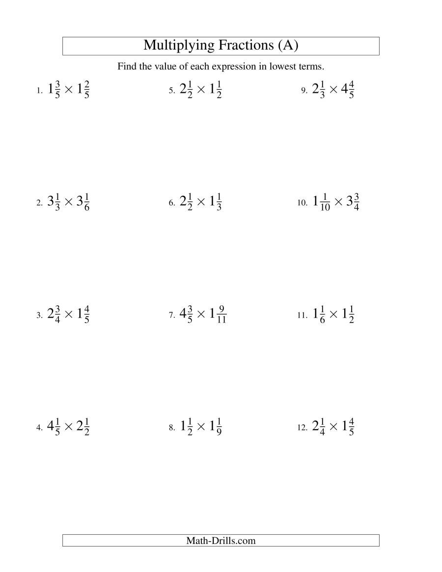 Multiplying Fractions by Fractions Worksheets Multiplying and Simplifying Mixed Fractions A