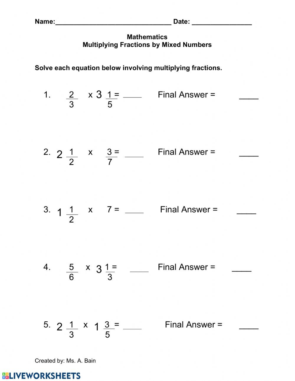 Multiplying Fractions by Fractions Worksheets Multiplying Fractions by A Mixed Number Worksheet