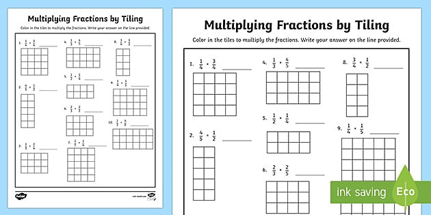 Multiplying Fractions by Fractions Worksheets Multiplying Fractions by Tiling with Grids Activity