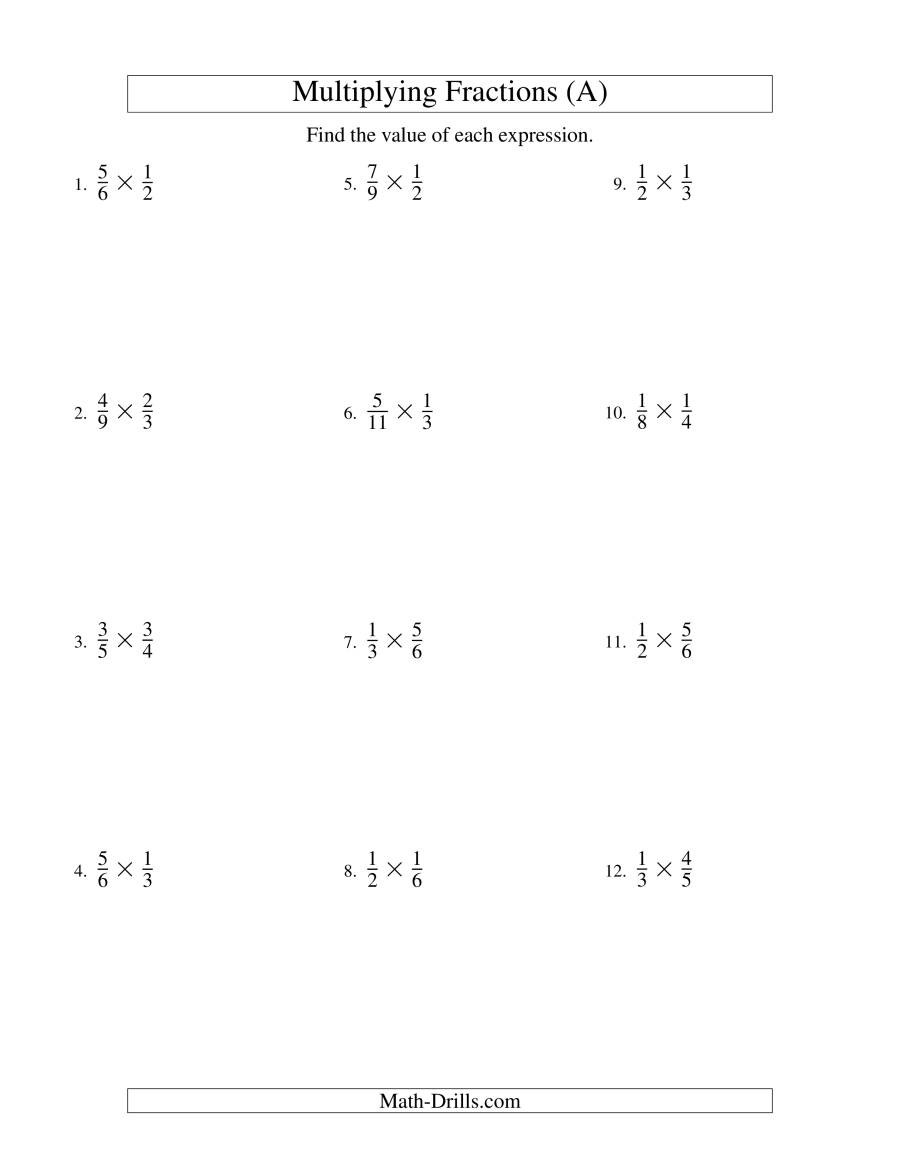 Multiplying Fractions by Fractions Worksheets Multiplying Proper Fractions A
