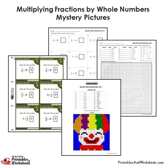299 4th grade 4 multiplying fractions by whole numbers mystery pictures coloring worksheets task cards