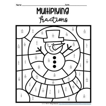 Multiplying Fractions Coloring Worksheets Multiplying Fractions Color by Number Winter theme
