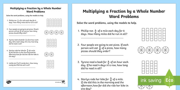Multiplying Fractions Using Models Worksheets Multiplying Fractions by whole Numbers Word Problems with