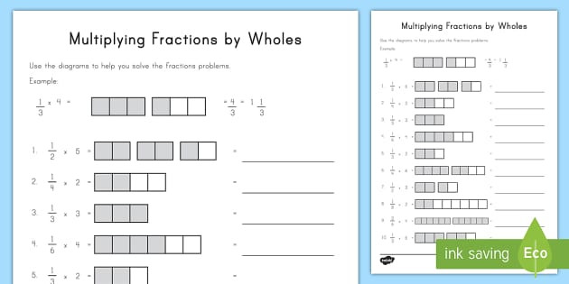 Multiplying Fractions Using Models Worksheets Multiplying Fractions by wholes Visual Support Worksheet