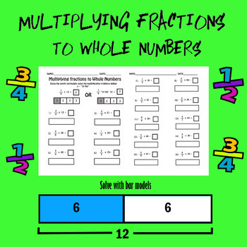 Multiplying Fractions Using Models Worksheets Multiplying Fractions to whole Numbers Worksheet