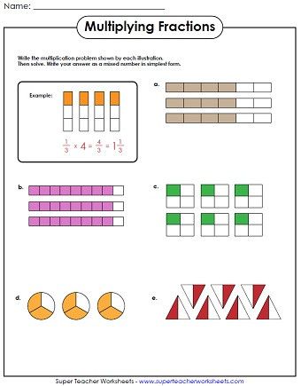 Multiplying Fractions Using Models Worksheets Multiplying Fractions Worksheets