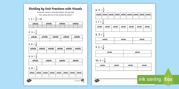 Multiplying Fractions Visual Worksheet Dividing whole Numbers by Unit Fractions Math Resources