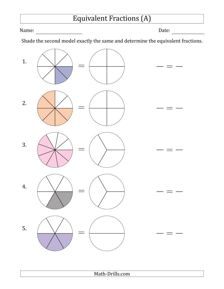 Multiplying Fractions Visual Worksheet Equivalent Fractions Models with the Simplified Fraction