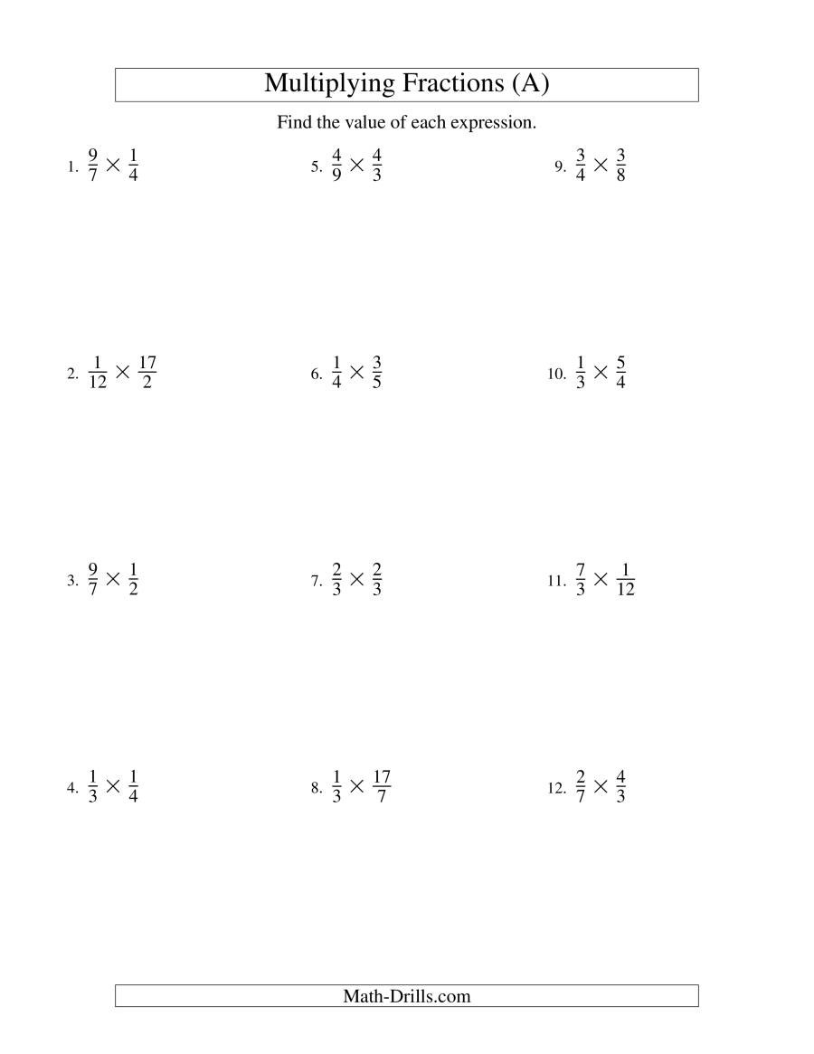 Multiplying Improper Fractions Worksheet Multiplying Proper and Improper Fractions A