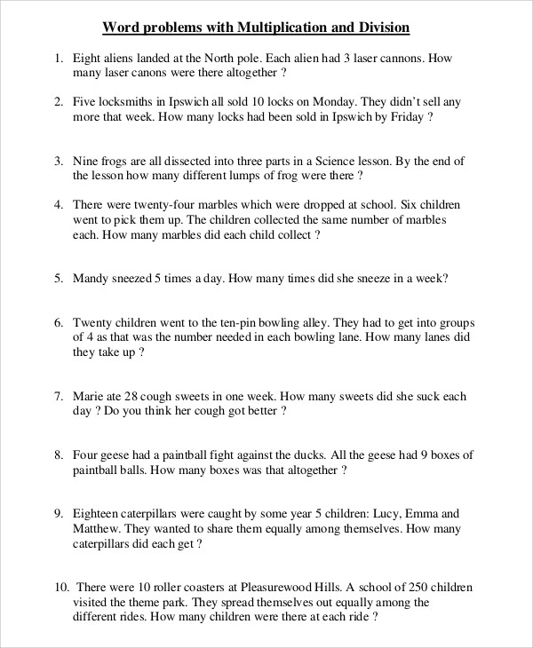 Multiplying Integers Word Problems Worksheet Free 8 Sample Multiplication and Division Worksheet
