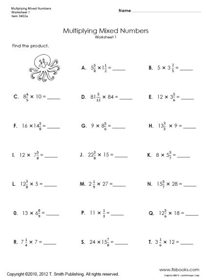 Multiplying Mixed Number Worksheets Multiplying Mixed Numbers Worksheets 1 and 2