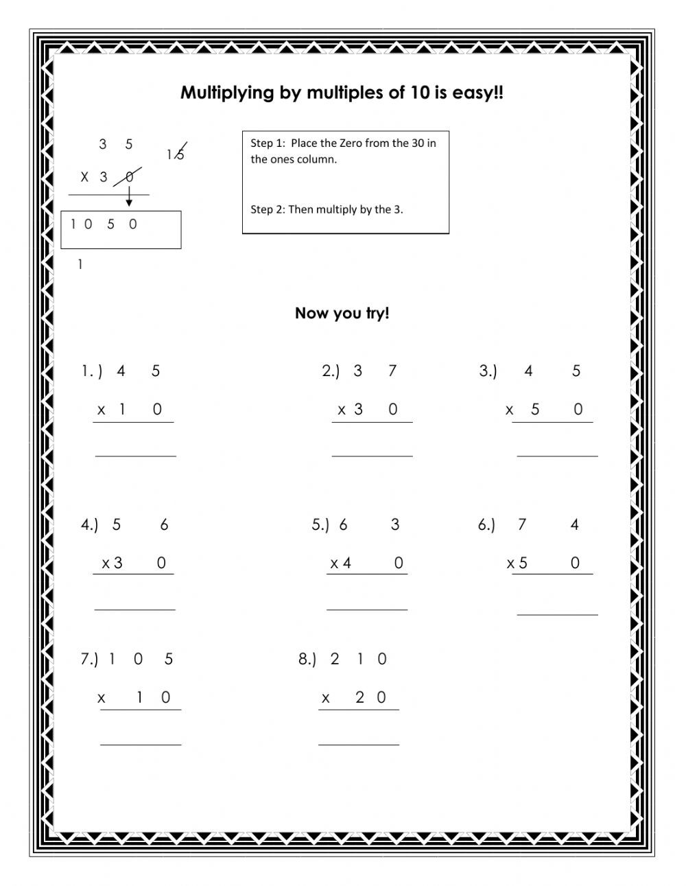 Multiplying Multiples Of 10 Worksheet Multiplying by Multiples Of 10 Worksheet