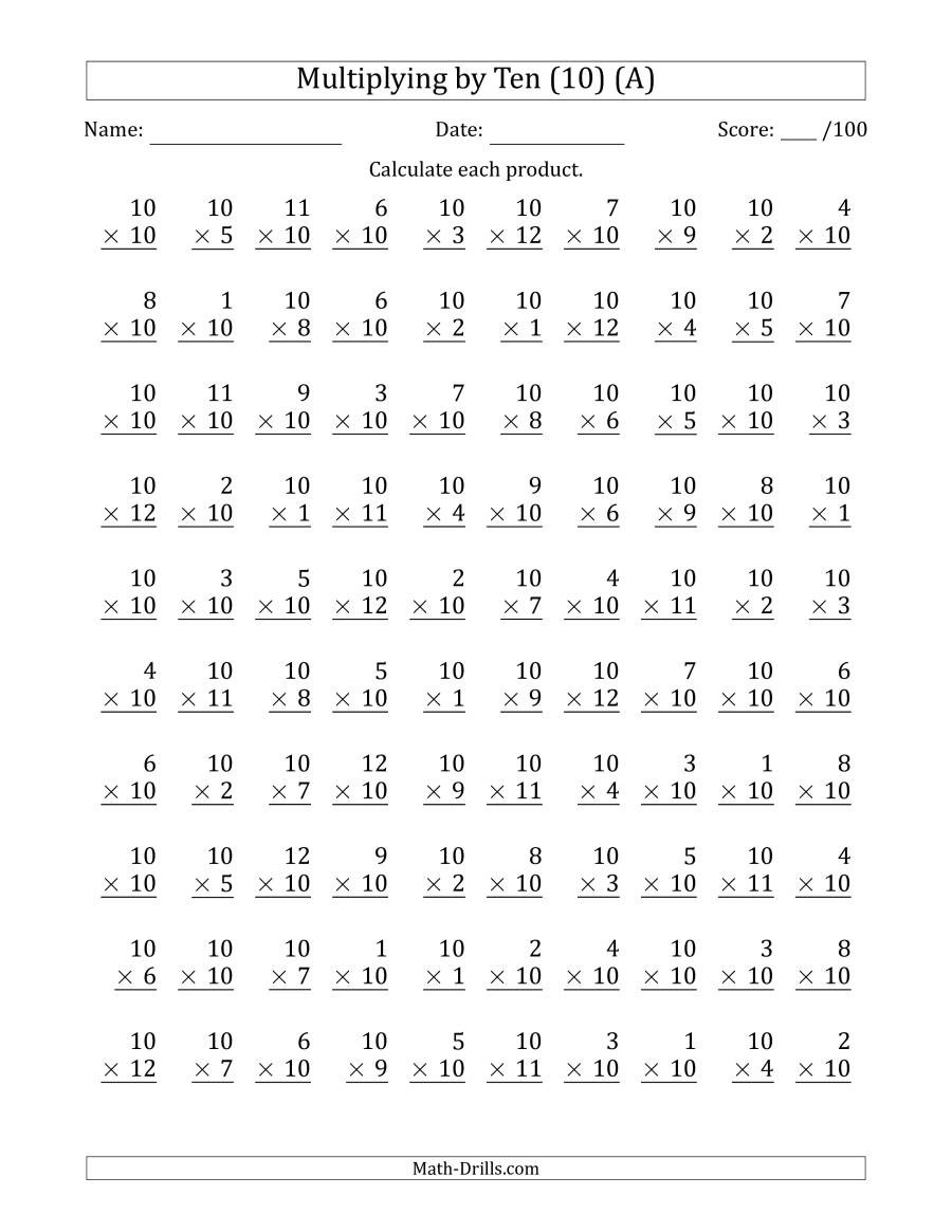 Multiplying Multiples Of 10 Worksheet Multiplying by Ten 10 with Factors 1 to 12 100 Questions A