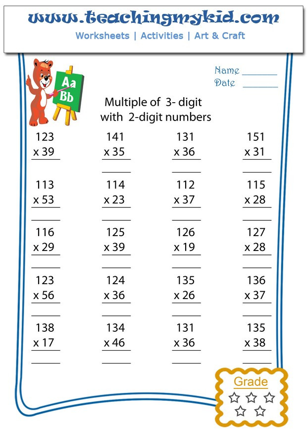 Multiplying Multiples Of 10 Worksheets Multiply Multiple 3 Digits with 2 Digit Numbers Archives