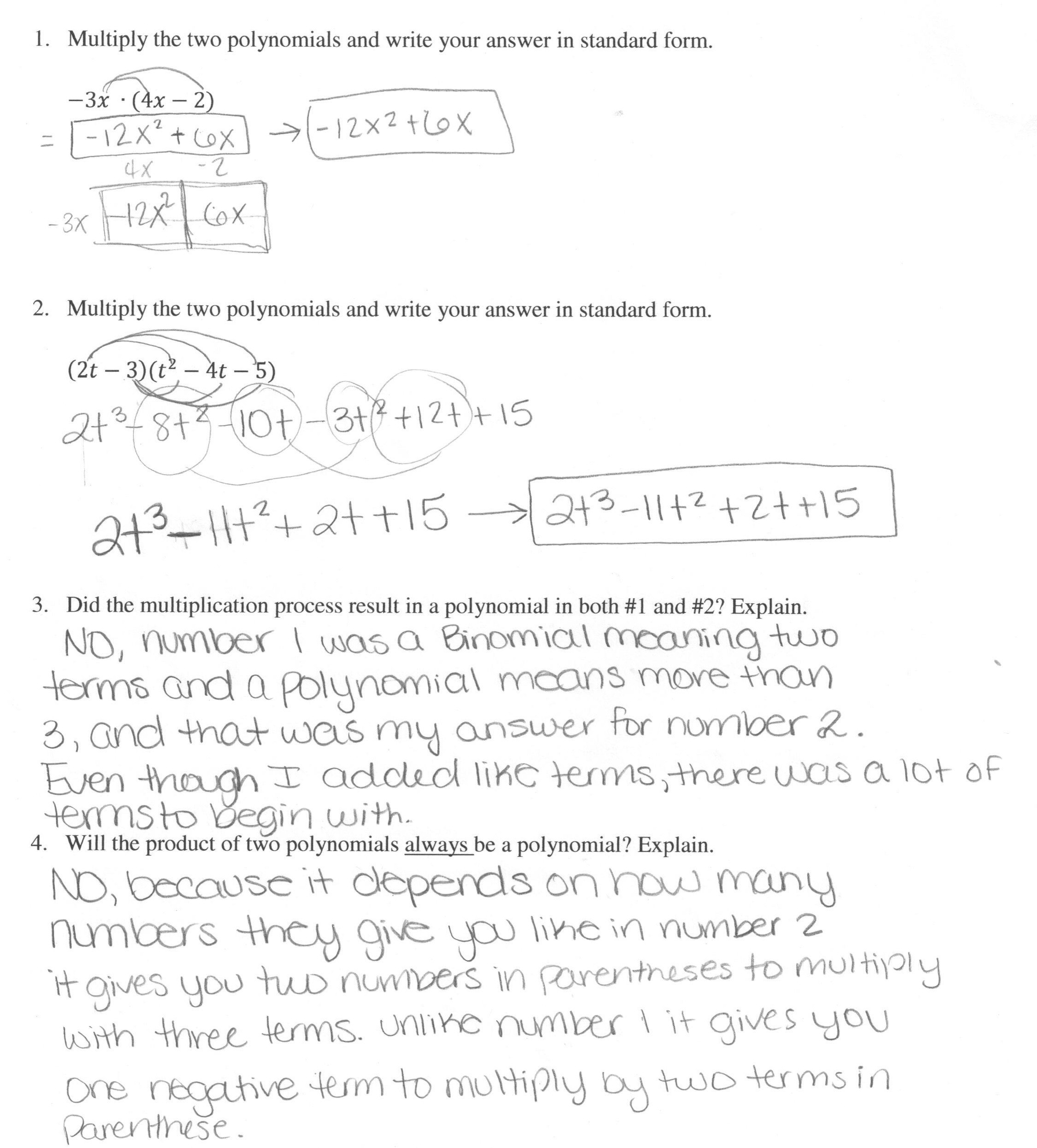 multiplying polynomials 1 students are asked to multiply