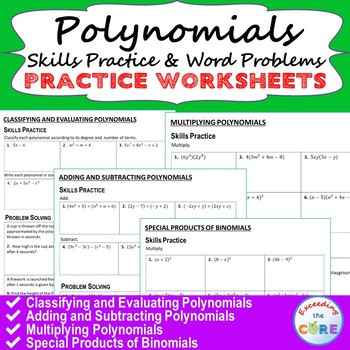 Multiplying Polynomials Word Problems Worksheet Polynomials Homework Worksheets Skills Practice & Word Problems