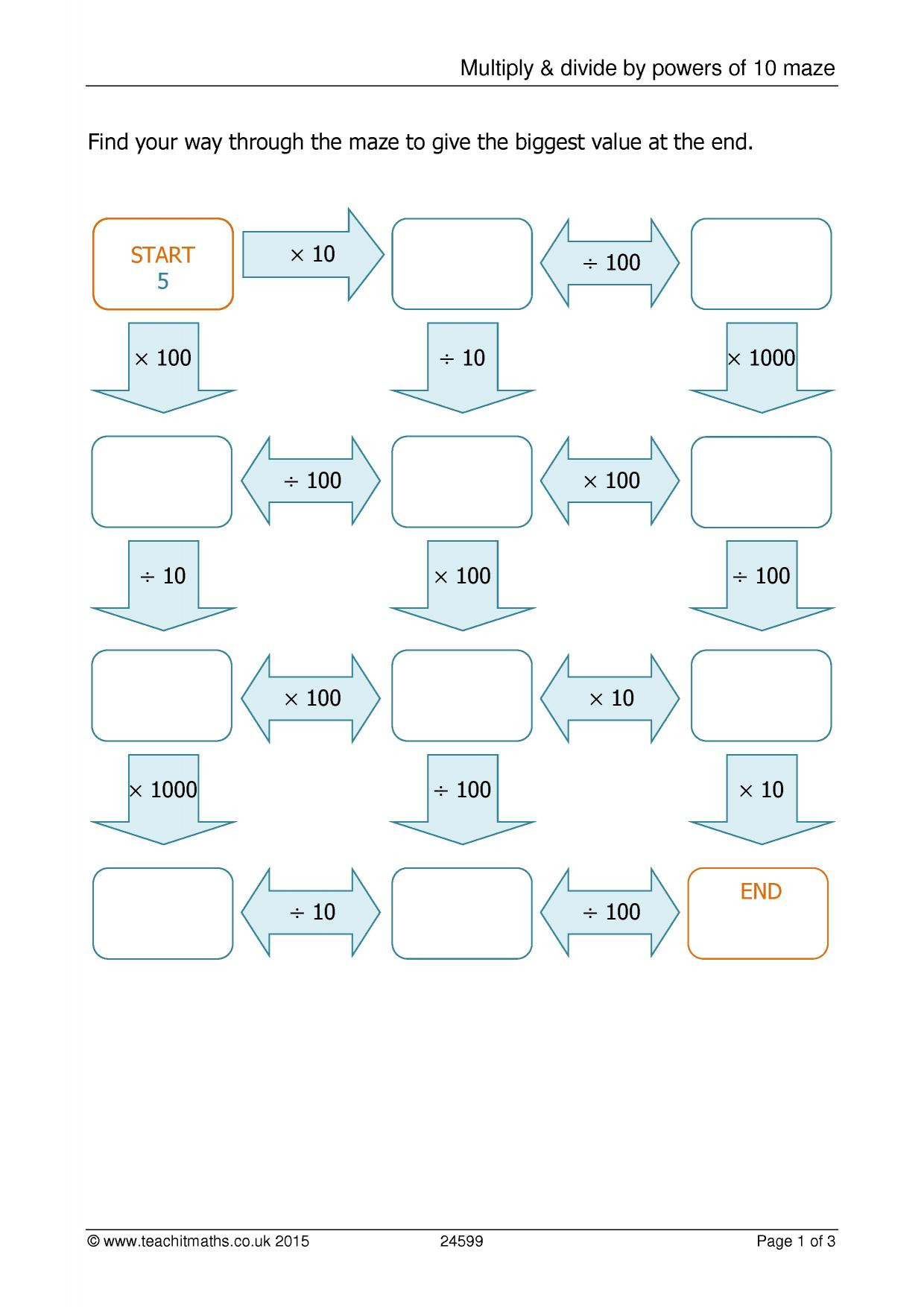 Multiplying Powers Of 10 Worksheet Multiply & Divide by Powers Of 10 Maze