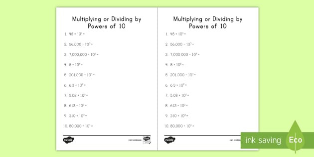 Multiplying Powers Of 10 Worksheet Multiplying or Dividing by Powers Of 10 Activity