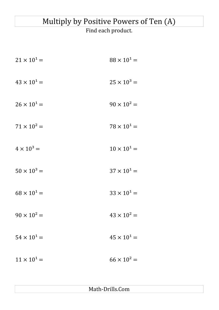 Multiplying Powers Of 10 Worksheet Multiplying whole Numbers by Positive Powers Of Ten