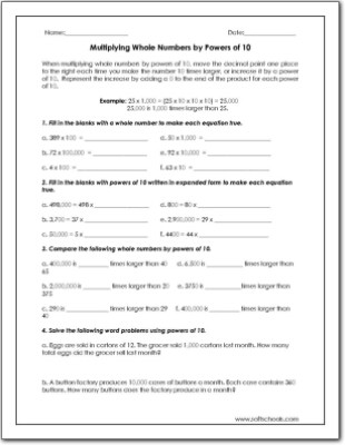 Multiplying Powers Of 10 Worksheet Multiplying whole Numbers by Powers Of 10 Worksheet