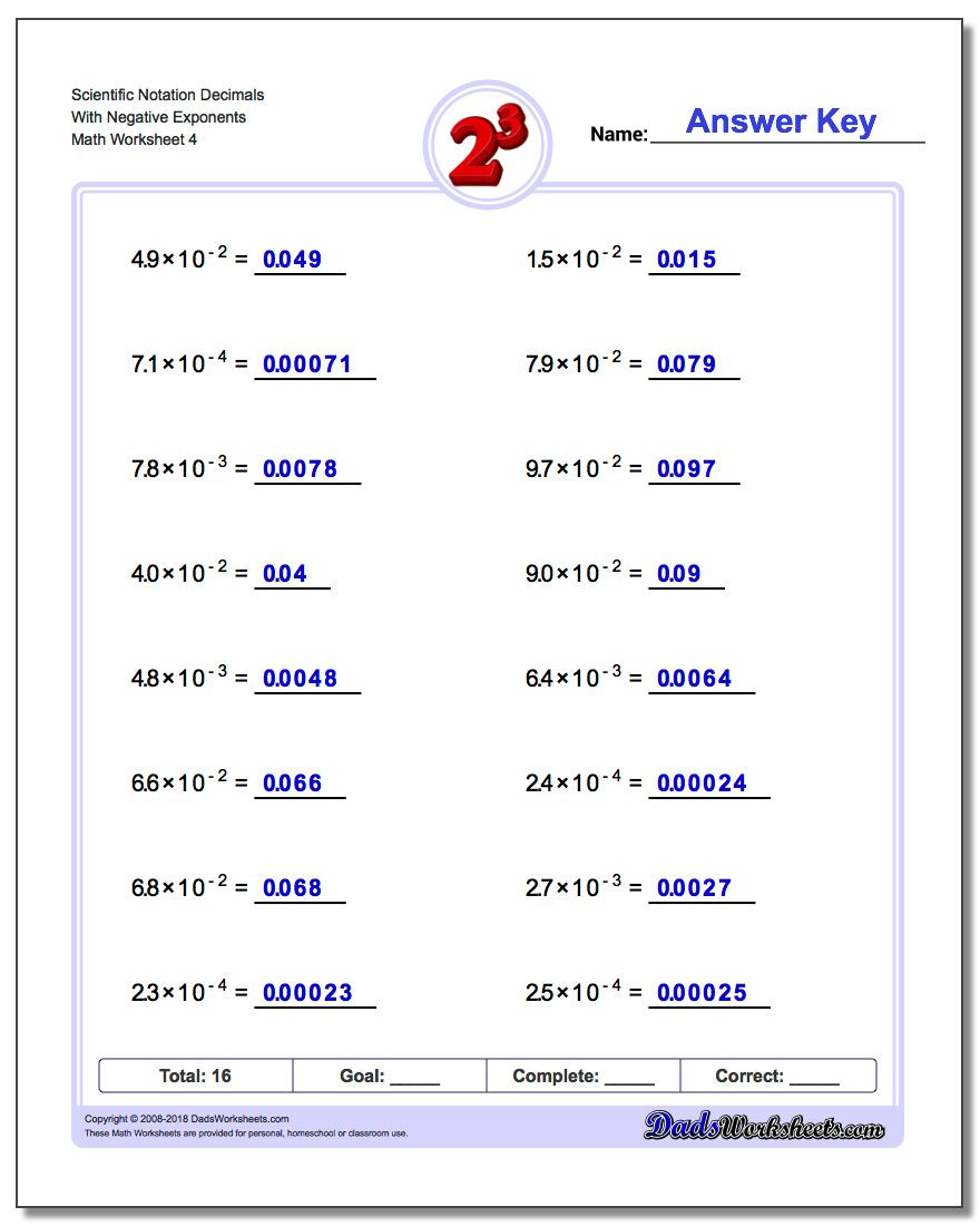 Multiplying Powers Of 10 Worksheet Powers Of Ten and Scientific Notation