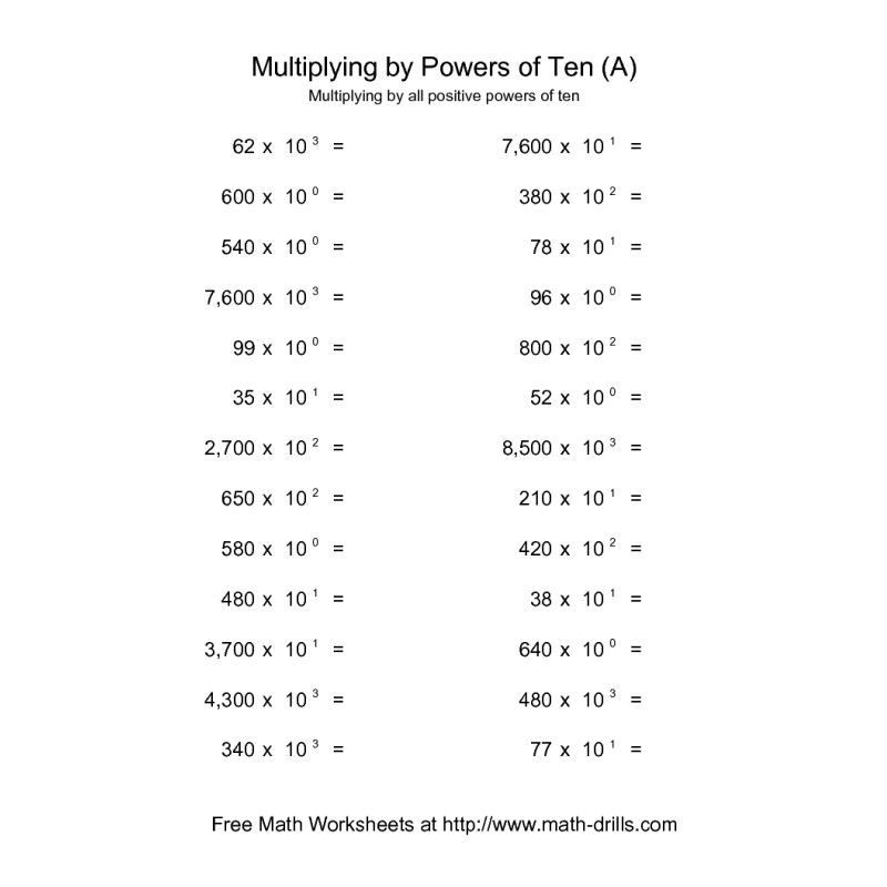 Multiplying Powers Of 10 Worksheet Powers Of Ten Worksheet whole Numbers Multiplied by All