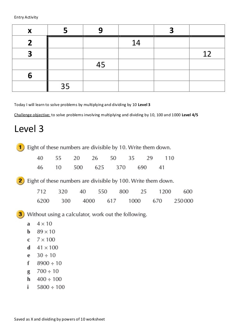Multiplying Powers Of 10 Worksheet X and Dividing by Powers Of 10 Worksheet