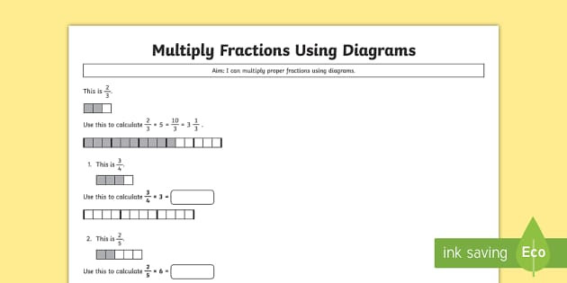 t2 m 2455 year 5 multiply proper fractions using diagrams activity sheet