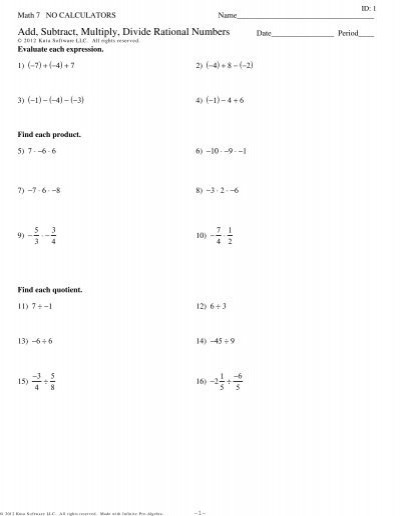 Multiplying Rational Numbers Worksheet Answers Add Subtract Multiply Divide Rational Numbers Review