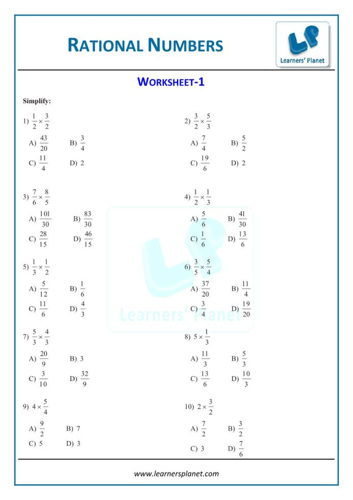 Multiplying Rational Numbers Worksheet Answers Math Safari Grade 8 Math Worksheets Rational Numbers 1st