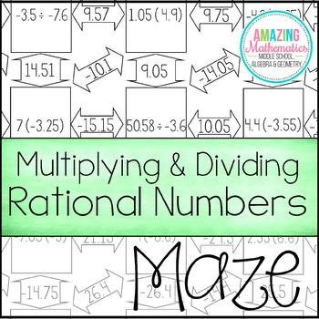 Multiplying Rational Numbers Worksheet Answers Multiplying & Dividing Rational Numbers Maze