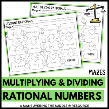 Multiplying Rational Numbers Worksheet Answers Multiplying and Dividing Rational Numbers Mazes