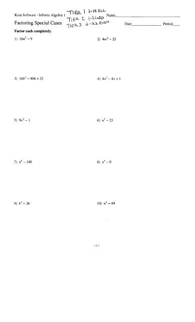 Multiplying Special Case Polynomials Worksheet Factoring Special Cases Date Period