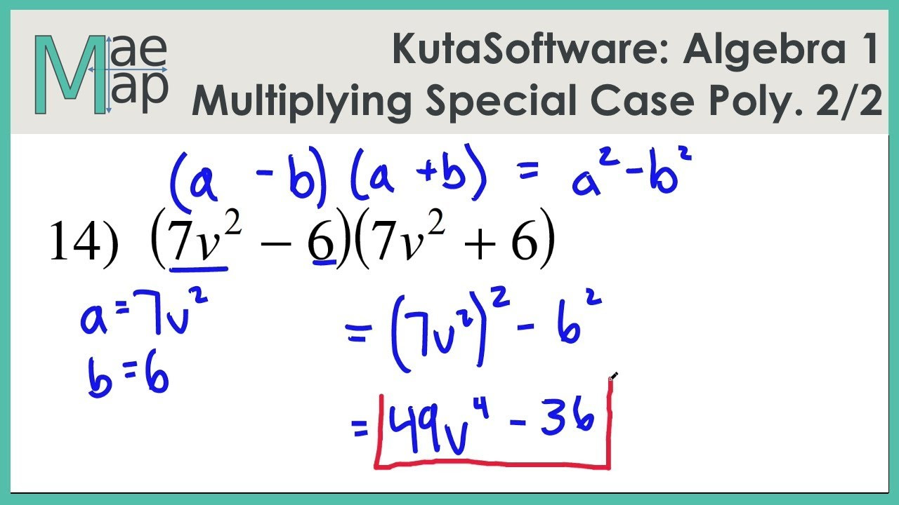 Multiplying Special Case Polynomials Worksheet Kutasoftware Algebra 1 Multiplying Special Case