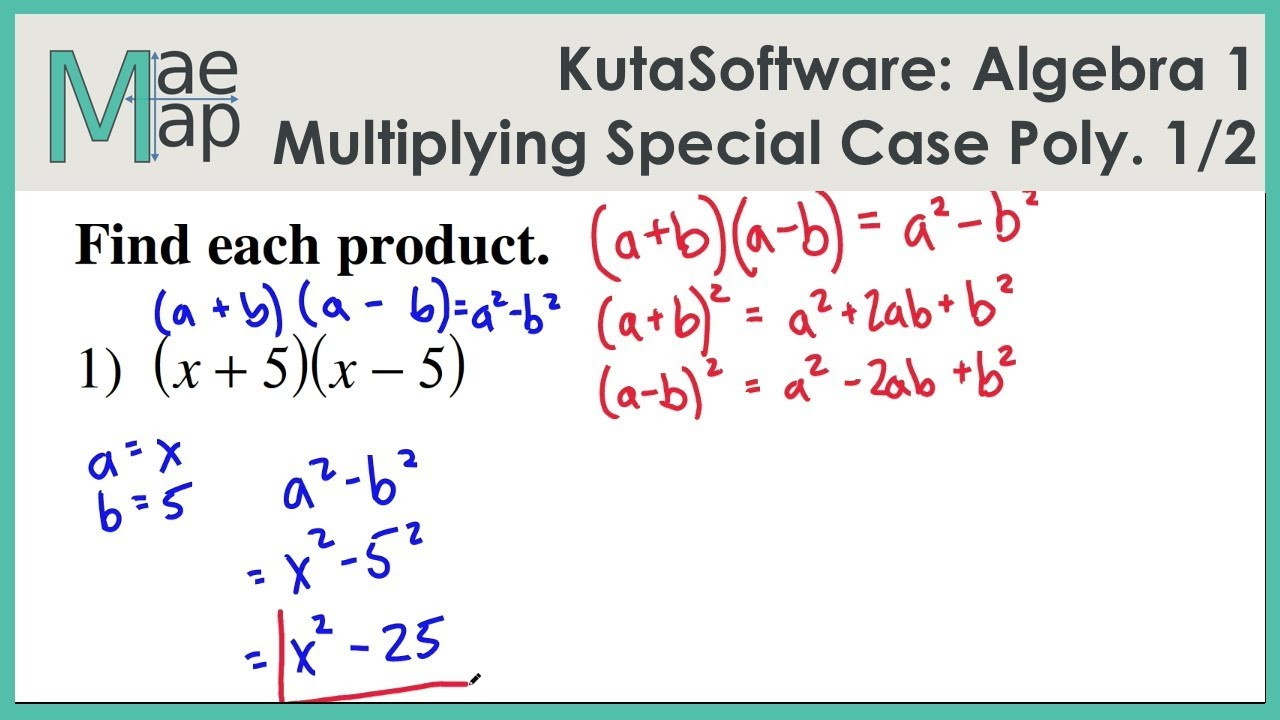 KutaSoftware Algebra 1 Multiplying Special Case Polynomials Part 1