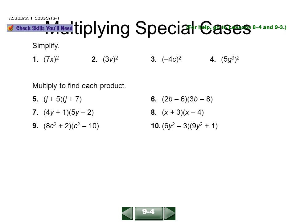 Multiplying Special Case Polynomials Worksheet Multiplying Binomials Algebra 1 Lesson 9 3 Simplify 2y – 3