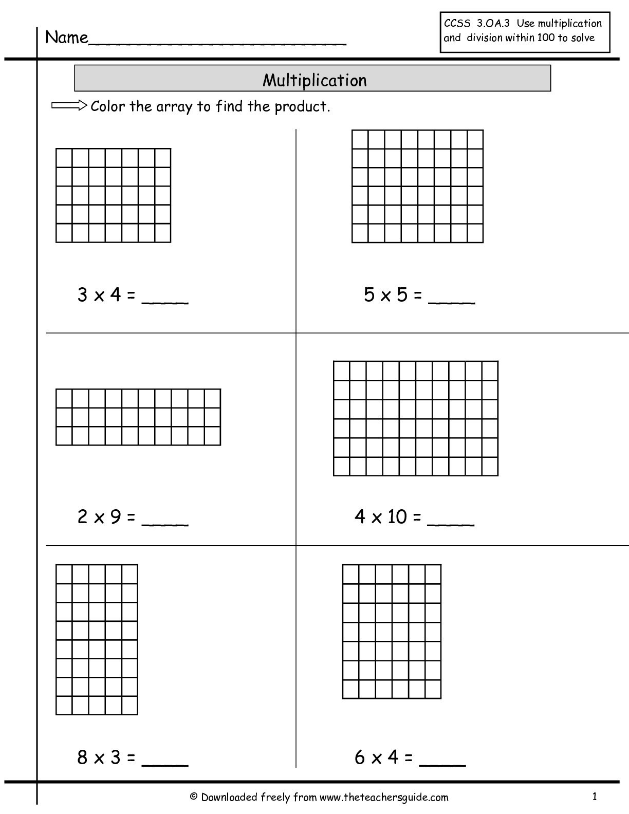 Multiplying Using Arrays Worksheets Array Worksheet En Vision
