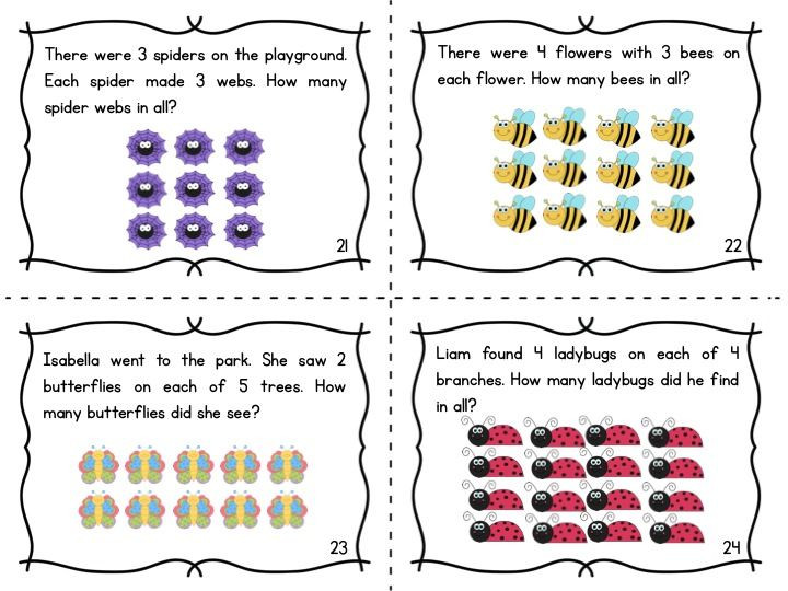 Multiplying Using Arrays Worksheets Multiplication Array Task Cards