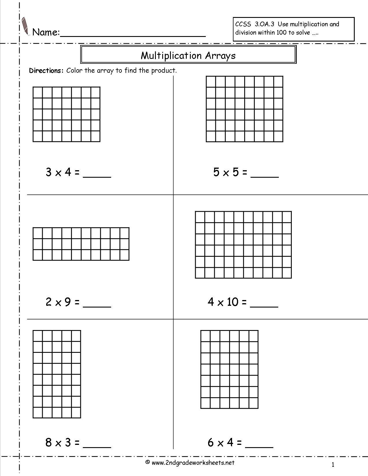 Multiplying Using Arrays Worksheets Multiplication Arrays Worksheets