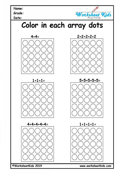 Multiplying Using Arrays Worksheets Repeated Addition Arrays Activities for Year 1 2 3 Worksheets