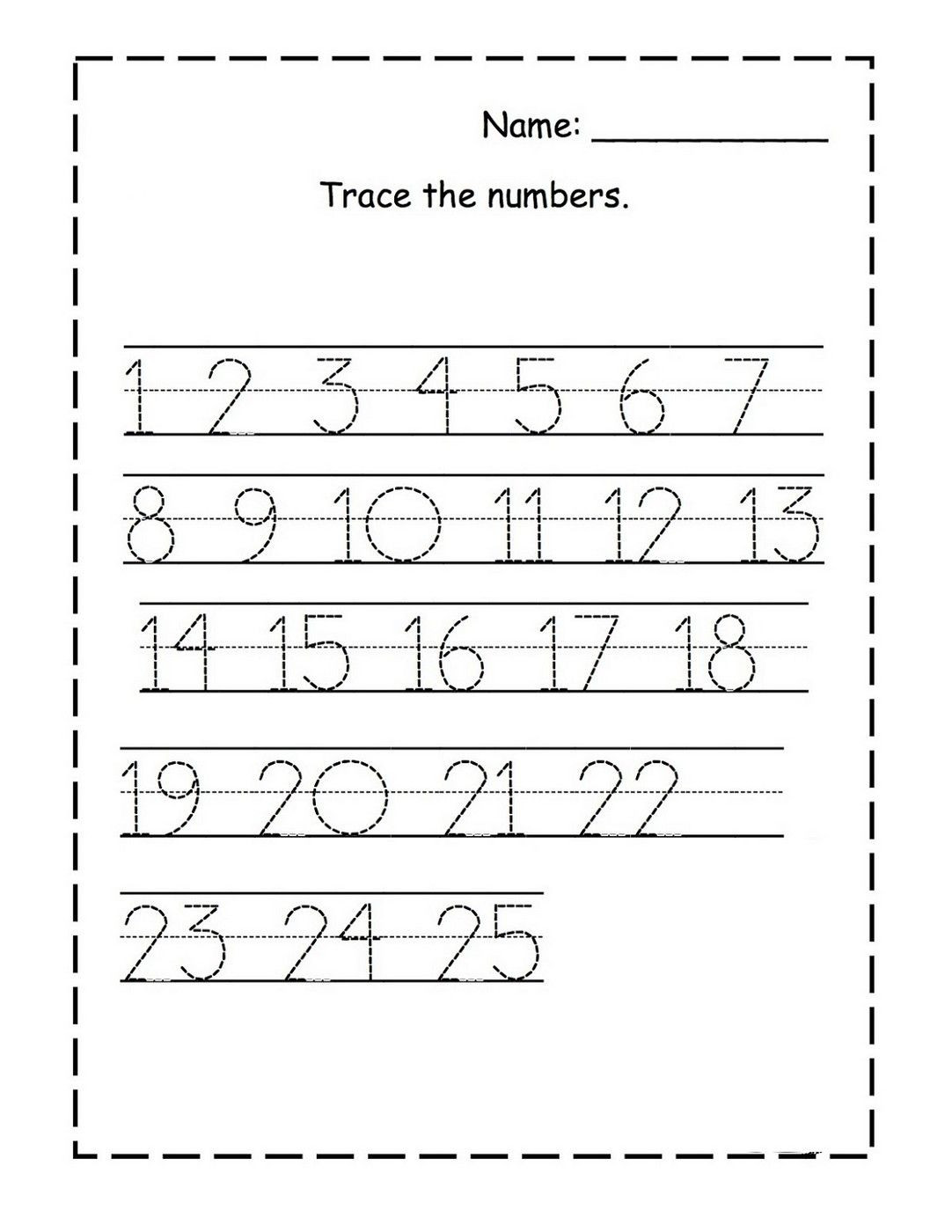 Number 1 Tracing Worksheet Tracing Numbers for Kg