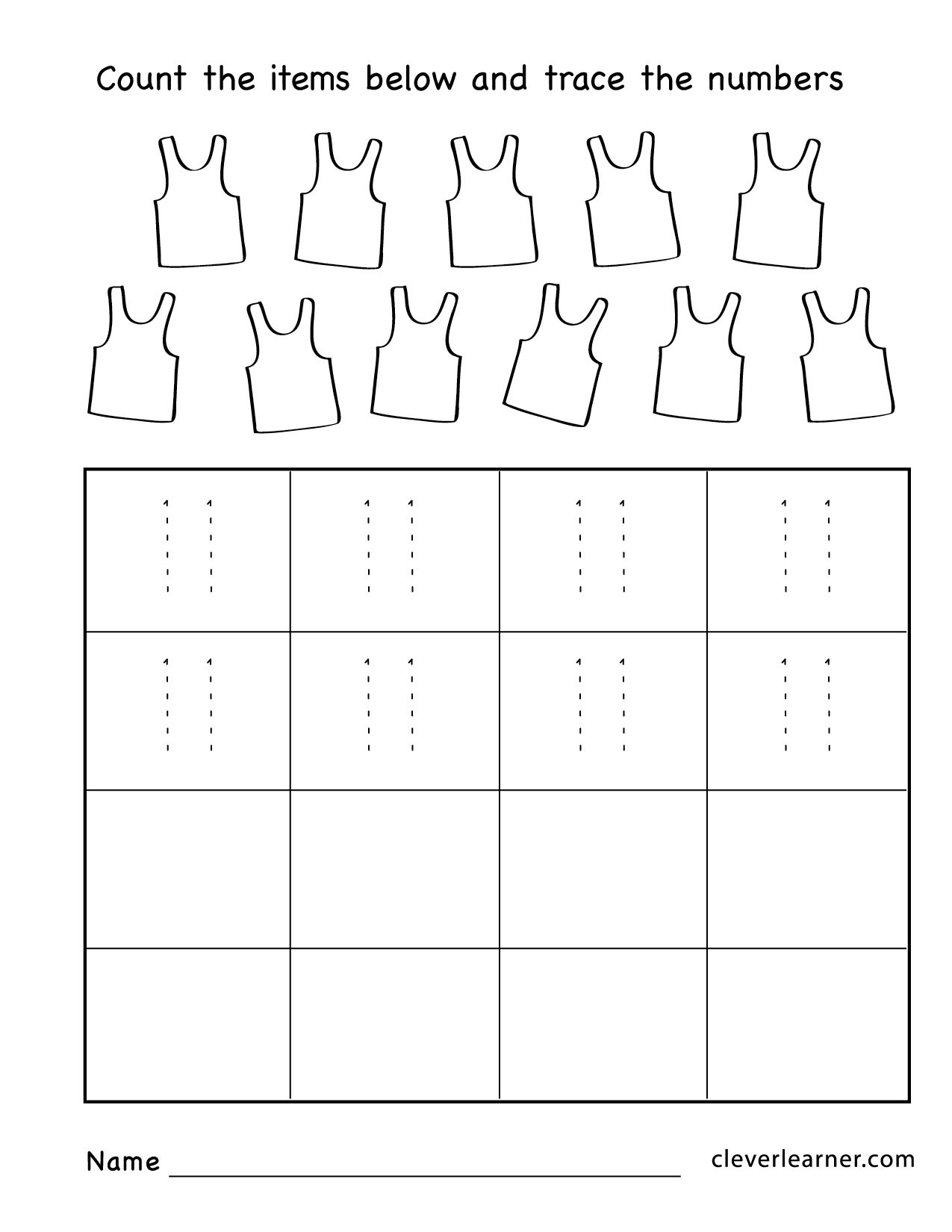 Number 11 Preschool Worksheet Number Eleven Writing Counting and Identification Printable