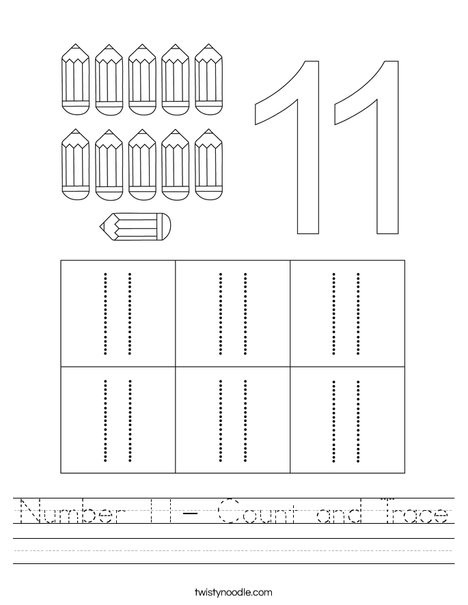 Number 11 Tracing Worksheet Number 11 Count and Trace Worksheet Twisty Noodle
