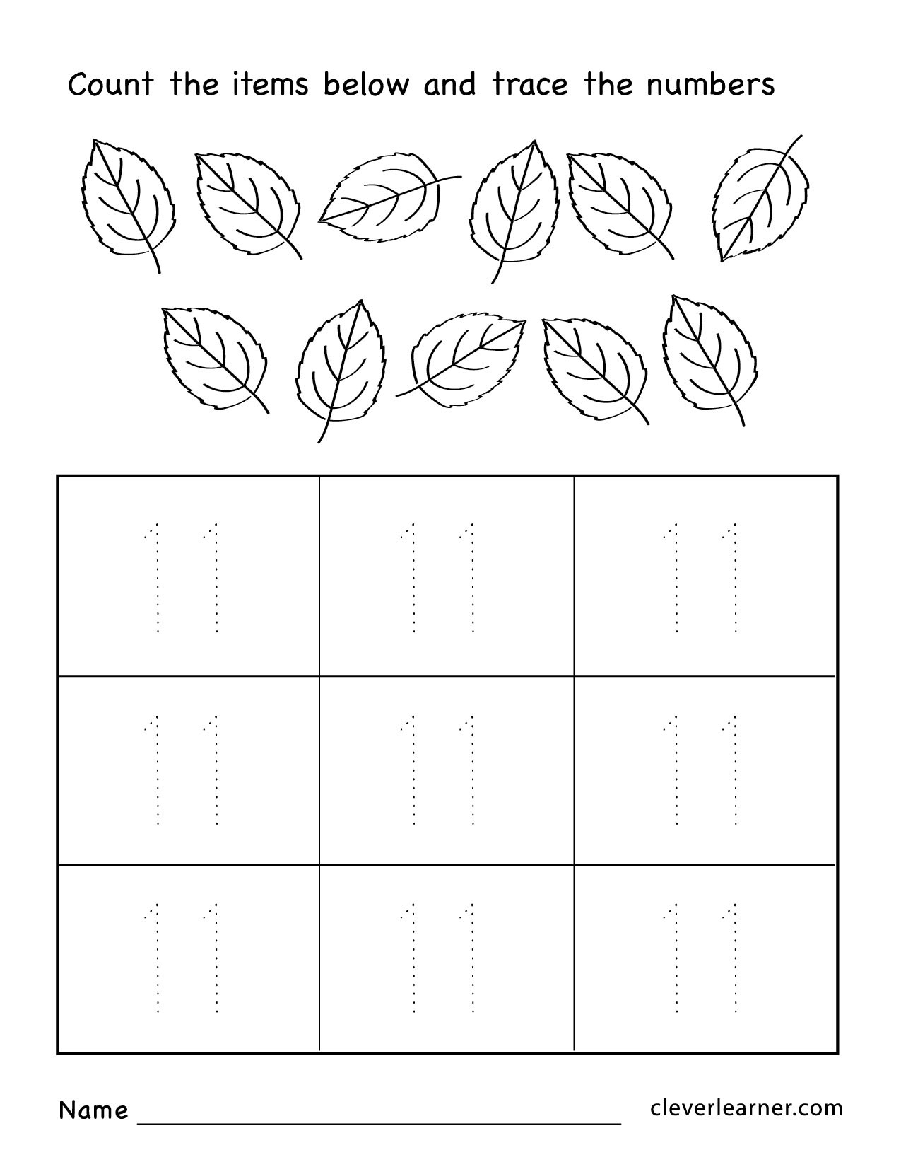 Number 11 Tracing Worksheet Number Eleven Writing Counting and Identification Printable