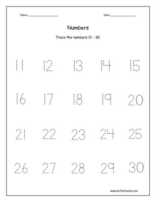 Number 11 Tracing Worksheet Trace the Numbers 1 – 20 Worksheet